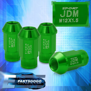 Jdm Sport 4pc M12x1 5mm Green Lug Nuts Thread Pitch Lockey Key Open Ended Vip