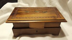 Antique Victorian Jewelry Box Inlaid Wood Painted Swallows Early To Mid 1800s
