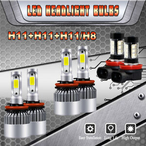 6x H9 H11 H8 Led Headlight Fog Lights For Nissan Murano Rouge Sentra 2015 2018