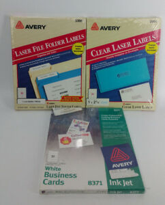 New Lot Of 3 Avery Clear Laser Labels 5660 File Folder 5366 Business Cards 8371
