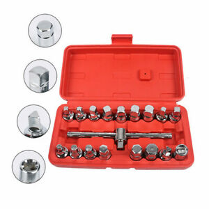 18pc Oil Drain Tube Sump Plug Key Socket Set Gearbox Axel Removal Wrench Tool
