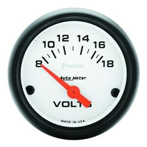 Auto Meter Phantom 52mm 8 18v Electronic Voltmeter Gauge