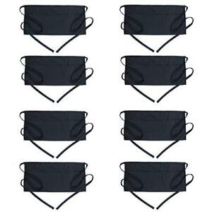 Aprons Waist With 3 Pockets 8 Pack Black Server Waitress Waiter Half Short For