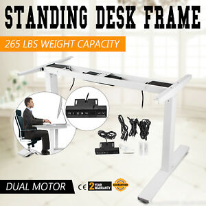 Electric Sit stand Standing Desk Frame Dual Motor Office Solid Heavy Duty