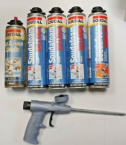 Soudal Foam Door Window 24oz Lot Of 4 With Gun Polyurethane Foam Applicator