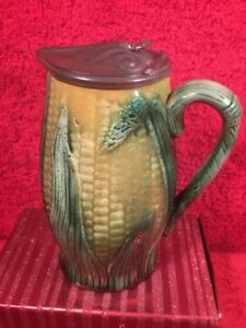 Pitcher Antique Victorian Majolica Corn Pitcher With Pewter Lid C 1800 S Em270