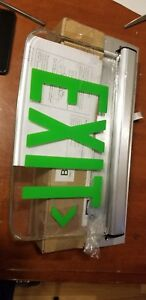 Dual Lite Hubbell Lewsgxna Le Series Edge lit Led Exit Sign Wall Mount Green