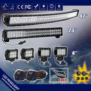 42inch Led Off Road Light Bar Combo 23 4 Cree Pods For 4wd Ute Ford Jeep 40