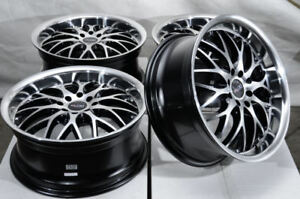 17 4x100 4x114 3 Black Wheels Fits Honda Accord Civic Elantra Miata 4 Lug Rims