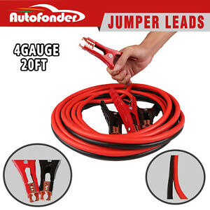 Heavy Duty 20ft Jumper Booster Cables 500amp 4 Gauge Emergency Car Battery Jump