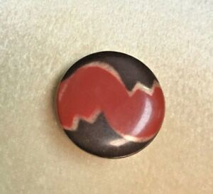Vintage Red And Brown Deco Pattern Celluloid Button German 2 5 Cm