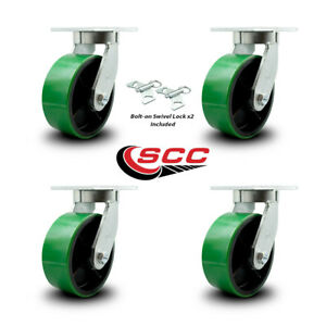 Scc 8 Hd Green Poly On Metal Caster Set 2 Swivel W swivel Lock 2 Swivel set 4