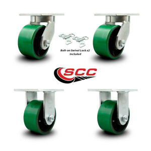 Scc 6 Hd Green Poly On Metal Caster Set 2 Swivel W swivel Lock 2 Rigid Set 4