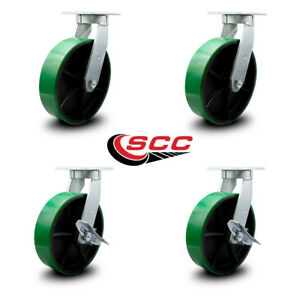 Scc 10 Extra Hd Green Poly On Metal Caster Set 2 Swivel W brake 2 Swivel Set 4