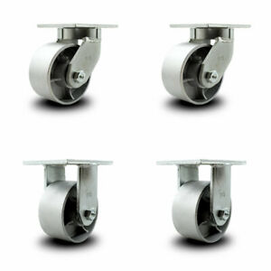 Scc 6 Extra Heavy Duty Semi Steel Caster Set 2 Swivel 2 Rigid Set Of 4