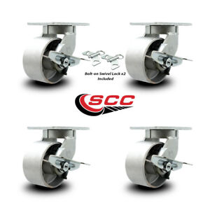 Scc 6 Hd Semi Steel Caster Set 2 Swivel W brk swivel Lock 2 Swivel W brk