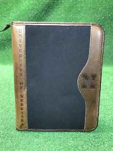 Franklin Covey Planner Binder Organizer Huskers Black Canvas Brown Leather
