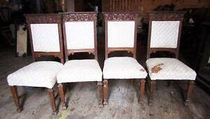 Set Of 4 Carved Oak Dining Chairs W Lion Griffins