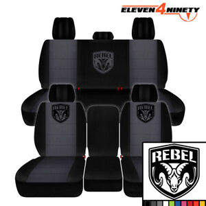 2011 2018 Dodge Ram 1500 Car Seat Covers Black Charcoal With New Rebel Design