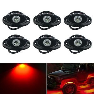 6x Red Cree Led Rock Light For Jeep Offroad Truck Atv Boat Under Body Trail Rig