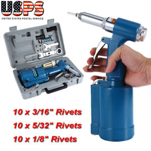 Pneumatic Air Hydraulic Pop Rivet Gun Riveter Riveting Tool W case Free Ship