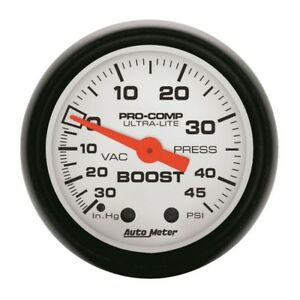 Auto Meter Phantom 52mm 30in Hg Vac 45psi Mechanical Vacuum Boost Gauge