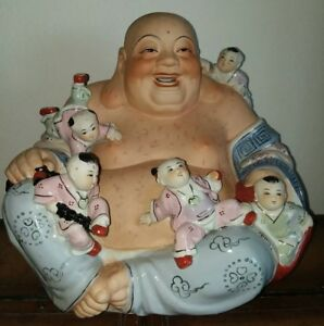 Chinese Porcelain Happy Laughing Buddha 5 Children Statue Extra Large 9 Lbs Rare
