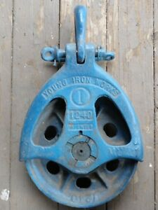 Young Iron Works 12 Rigging Cable Rope Block Pulley Logging Crane Shipworking
