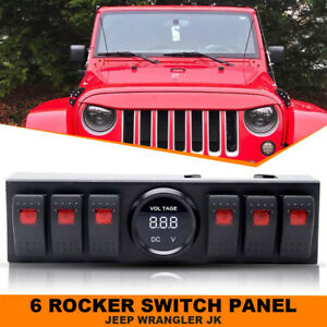 Rocker Switches 6 Switch Panel Kit Controls Box Realy For Jeep Wrangler Jk Tj