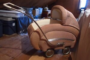 Wicker Baby Carriage From 1950s