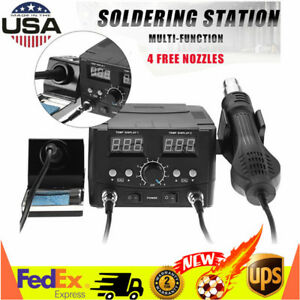2in1 Lcd Soldering Iron Rework Stations Hot Air Desoldering Heater Device Usa