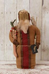 New Primitive Country Folk Art Old Fashioned Santa Doll With Stocking Twigs 16