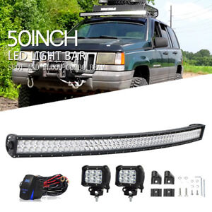 50 Curved Roof Led Light Bar 2x 4 Pods For 1993 1998 Jeep Grand Cherokee Zj