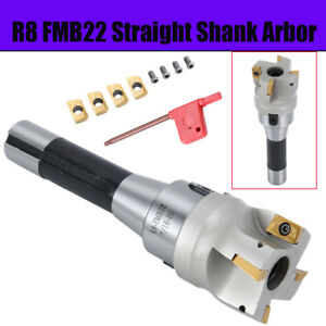 New R8 Fmb22 Arbor 400r 50mm Face End Mill Cutter 4x Apmt1604 Carbide Inserts Us