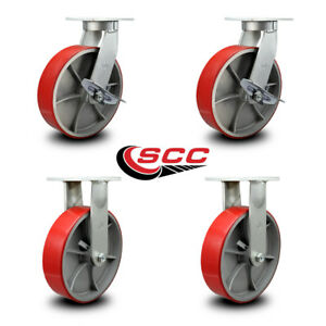 Scc 12 Extra Hd Red Poly On Metal Caster Set 2 Swivel W brakes 2 Rigid set 4
