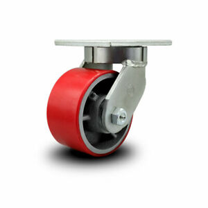 Scc 6 Hd Red Poly On Metal Wheel swivel Caster W swivel Lock 2000 Lbs caster