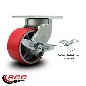 Scc 6 Hd Red Poly On Metal Wheel Swivel Caster W brake Bolton Swivel Lock