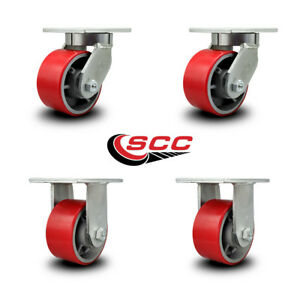 Scc 6 Extra Heavy Duty Red Poly On Metal Caster Set 2 Swivel 2 Rigid set 4