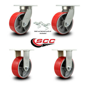 Scc 8 Hd Red Poly On Metal Caster Set 2 Swivel W swivel Lock 2 Rigid Set 4