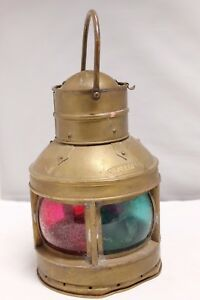 Vintage Nautical Oil Lamps Copper Lantern Starboard Port Boat Ship Light Old