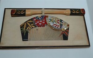 Vintage Japanese Kanzashi Lacquered And Inlaid Comb And Hairpin