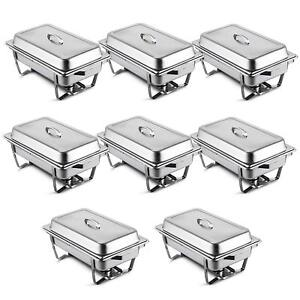 8 Pcs Chafing Dish Stainless Chafer Pan 8 Quart Chafers Catering Buffet Warmer
