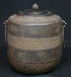 Antique Kama Iron And Bronze Kettle Tea Ceremony Craft 1900 Japanese Hand Made
