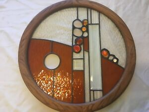 Vintage Leaded Stained Glass Panel 20 5 X 20 5 Circular In A Wooden Frame