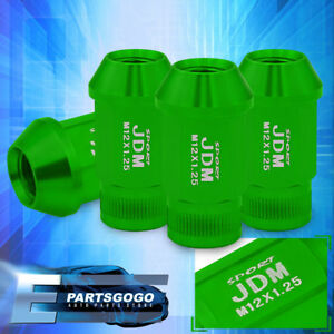 Jdm Sport 4pc M12x1 25mm Pitch Thread Green Lug Nuts Open Ended Alloy Steel Vip