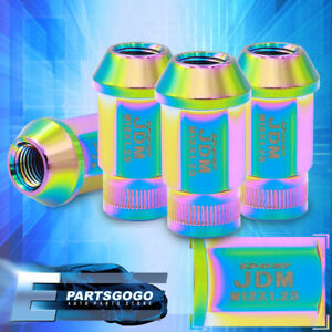Jdm Sport 4pc M12x1 25mm Pitch Thread Neochrome Lug Nuts Open Ended Alloy Steel
