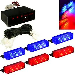 18 X Red Blue Led Flashing Strobe Light Clips Car Truck Firefighter Dash Grille