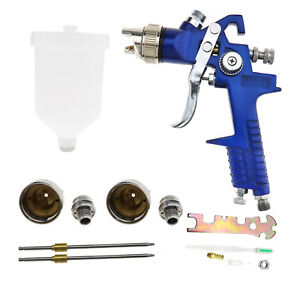 Gravity Feed Hvlp Paint Spray Gun Kit 1 4mm 1 7mm 2mm Nozzle Included 600ml