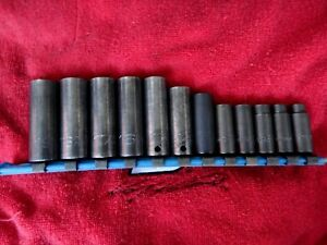 Matco Snap on Mac Tools 12pc Deep Impact Socket Set Metric 6 pt 8mm 19mm
