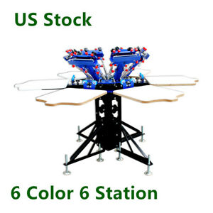 Us Stock 6 Color 6 Station Manual Screen Printing Machine T shirt Print Machine